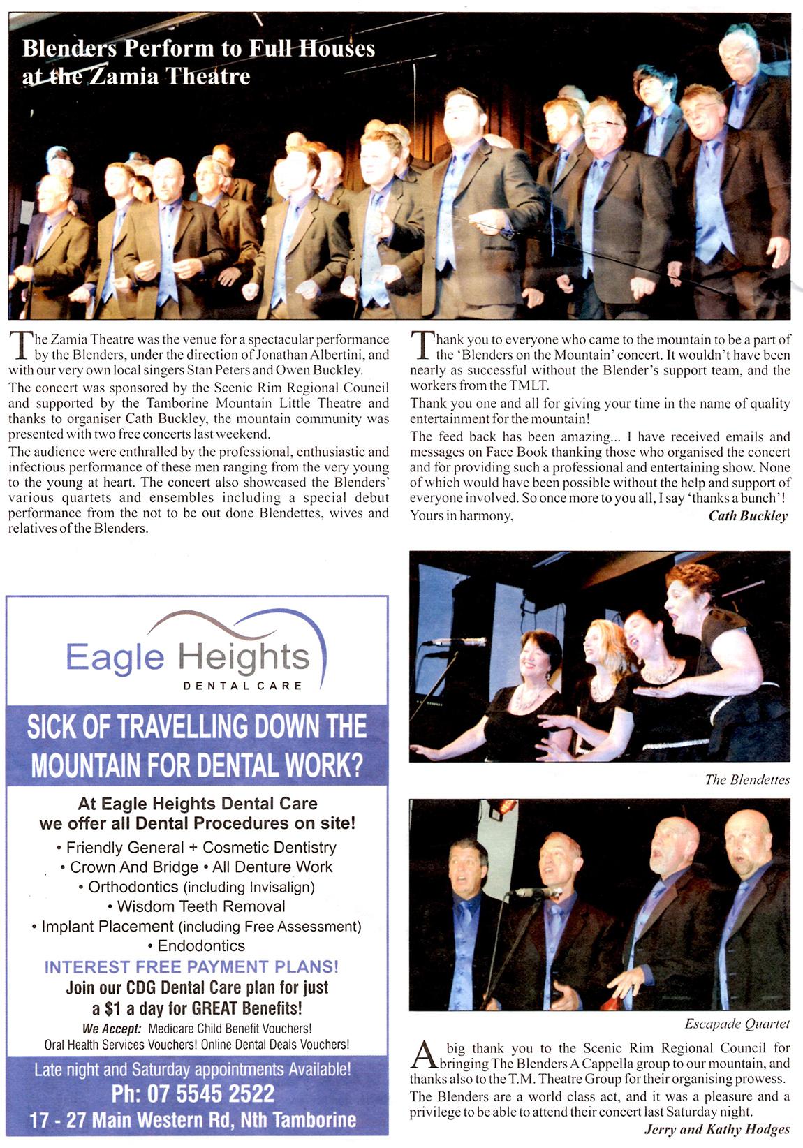 Blenders concert at the Zamia - Tamborine Times, 30/7/15